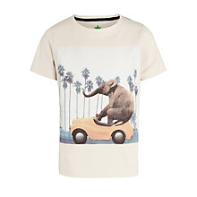 Buy John Lewis Boy Graphic Elephant T-Shirt, Stone Online at johnlewis.com
