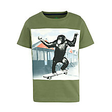 Buy John Lewis Boy Skateboarding Monkey T-Shirt, Khaki Online at johnlewis.com