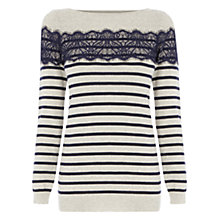 Buy Oasis Pointelle Stripe Top, Light Neutral Online at johnlewis.com