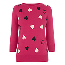 Buy Oasis Scattered Heart Cut-out Knit Jumper, Mid Pink Online at johnlewis.com