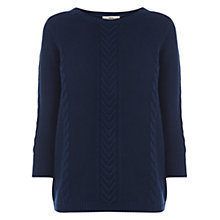 Buy Oasis Textured Cotton Waffle Jumper, Navy Online at johnlewis.com
