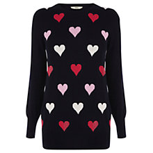 Buy Oasis Striped Heart Jumper, Navy Online at johnlewis.com