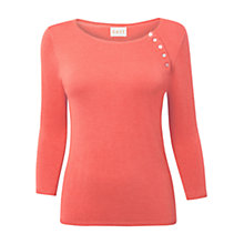 Buy East Button Detail Jumper, Blush Online at johnlewis.com