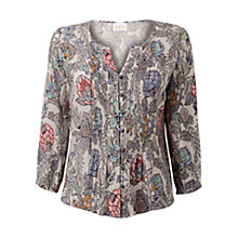 Buy East Georgina Print Blouse, Pearl Online at johnlewis.com