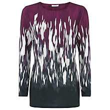 Buy Windsmoor Flame Print Long Sleeve Top, Claret Online at johnlewis.com
