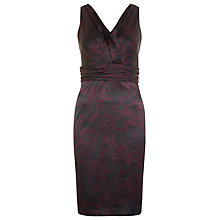 Buy Kaliko Rose Print Satin Shift Dress, Plum Online at johnlewis.com