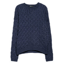 Buy Mango Cable Knit Jumper, Navy Online at johnlewis.com