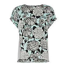 Buy Warehouse Floral Print Jersey Mix T-Shirt, Multi Online at johnlewis.com