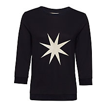 Buy Jaeger Large Star Print Jumper, Navy / Ivory Online at johnlewis.com