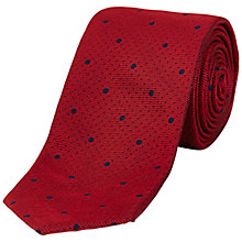 Buy Jaeger Multi Spot Silk Tie, Dark Red Online at johnlewis.com