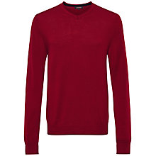 Buy Jaeger Gostwyck Merino V-Neck Jumper, Bordeaux Online at johnlewis.com