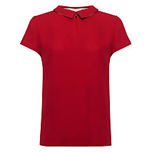 Buy Jaeger Collar Detail Top, Red Online at johnlewis.com