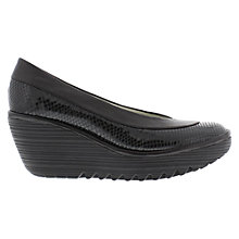 Buy Fly Yoko Leather Slip On Wedge Heel Pumps Online at johnlewis.com