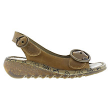 Buy Fly Tram Leather Wedge Sandals, Brown Online at johnlewis.com