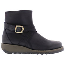Buy Fly Sake Leather Wedge Heeled Ankle Boots, Navy Online at johnlewis.com