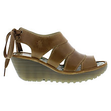 Buy Fly Yown Leather Wedge Sandals, Brown Online at johnlewis.com