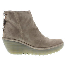 Buy Fly Yoak Suede Wedge Boots, Natural Online at johnlewis.com