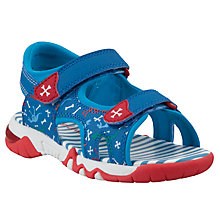 Buy John Lewis Wilbur Dino Trekker Sandals, Blue/Red Online at johnlewis.com