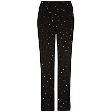 Buy Jaeger Boutique Starlight Print Trousers, Black / Ivory Online at johnlewis.com
