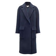 Buy Whistles Julia Textured Long Coat, Navy Online at johnlewis.com