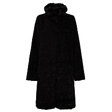 Buy Four Seasons Faux Fur Funnel Neck Coat, Black Online at johnlewis.com