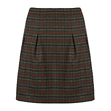 Buy Jigsaw English Checked Pleat Detail Wool Skirt, Green Online at johnlewis.com