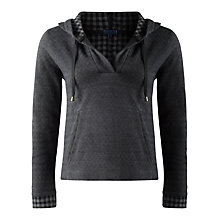 Buy Jigsaw Gingham Hooded Jersey Top, Dark Grey Online at johnlewis.com