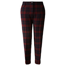 Buy Jigsaw Check Trousers, Burgundy Online at johnlewis.com