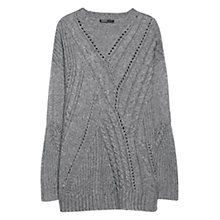 Buy Mango Modal and Wool Blend Open-Knit Jumper, Medium Grey Online at johnlewis.com