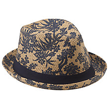 Buy John Lewis Floral Print Straw Trilby Hat, Natural/Navy Online at johnlewis.com