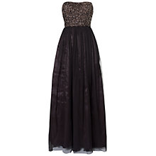 Buy Aidan Mattox Strapless Evening Dress, Black/Bronze Online at johnlewis.com