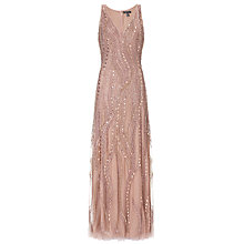 Buy Aidan Mattox Sleeveless Beaded Gown, Rose Gold Online at johnlewis.com