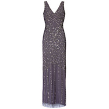 Buy Aidan Mattox Double V Beaded Dress, Gunmetal Online at johnlewis.com