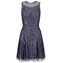 Buy Aidan Mattox Beaded Cocktail Dress, Pewter Online at johnlewis.com
