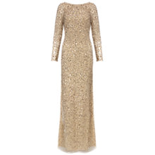 Buy Aidan Mattox Long Sleeve Beaded Gown, Gold Online at johnlewis.com