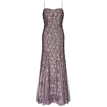 Buy Aidan Mattox Maxi Beaded Lace Gown, Gunmetal Online at johnlewis.com