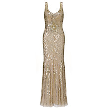 Buy Aidan Mattox Long Beaded Dress, Champagne Online at johnlewis.com