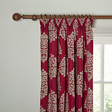 Buy John Lewis Chenille Damask Lined Pencil Pleat Curtains, Red Online at johnlewis.com
