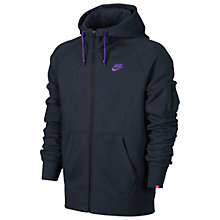 Buy Nike AW77 Fleece Full Zip Training Hoodie, Black/Purple Online at johnlewis.com