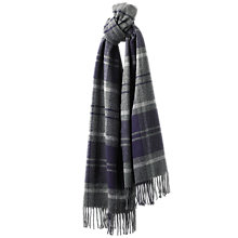 Buy Jaeger Oversized Check Cashmere Blend Scarf, Grey Melange Online at johnlewis.com