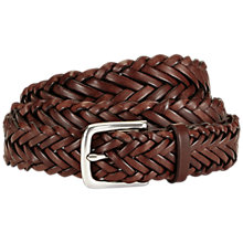 Buy Jaeger Plaited Leather Belt, Brown Online at johnlewis.com