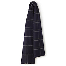 Buy Jaeger Windowpane Check Wool Scarf, Navy Online at johnlewis.com