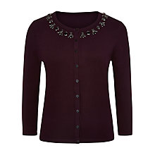 Buy Precis Petite Jewel Cardigan, Berry / Plum Online at johnlewis.com