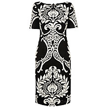 Buy Phase Eight Eva Contrast Print Fitted Jersey Dress, Black / Ivory Online at johnlewis.com