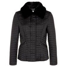 Buy Precis Petite Short Quilted Jacket with Faux Fur Collar, Black Online at johnlewis.com