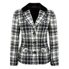 Buy Precis Petite Boucle Check Jacket, Black/White Online at johnlewis.com