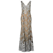 Buy Phase Eight Evita Lace Floral Gown, Black/Silver Online at johnlewis.com