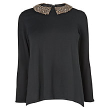 Buy Phase Eight Sadie Diamante Collar Jumper, Black Online at johnlewis.com