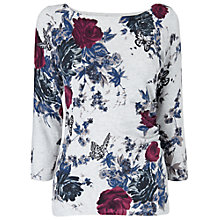 Buy Phase Eight Floral Print Fitted Jumper, Grey Marl Online at johnlewis.com