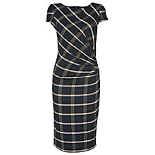 Buy Phase Eight Kendal Side Ruched Check Dress, Navy / Charcoal Online at johnlewis.com